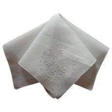 Monogram K Vintage Hankie Fine Linen Unused Hand Embroidery All White