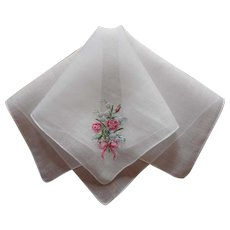 Petit Point Pink Roses Bow Hand Embroidery Vintage Linen Hankie Unused