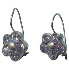 Tanzanite Sterling Silver Pierced Drop Earrings Vintage 1990s Flower