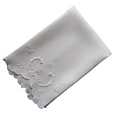 Monogram B Antique Hand Towel Linen White Work Hand Embroidery