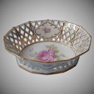 Schumann Pink Rose Reticulated Pierced Basket Bowl Vintage
