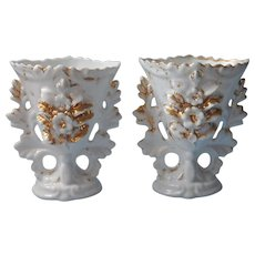 Victorian Mantel Vases Pair Gold White Antique China