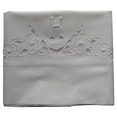 Monogram H Pillowcase Single Vintage 1920s Cutwork Hand Embroidered