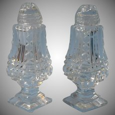 Cut Glass Shakers Vintage Footed Glass Tops