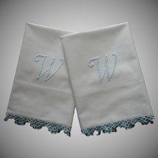 Monogram W Pillowcases Pair Vintage 20s Tatted Lace Cotton