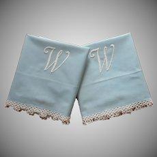 Monogram W Pillowcases Pair Vintage 20s Tatted Lace Cotton Blue
