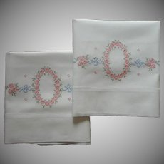 Pillowcases Hand Embroidered Unused Vintage 1920s Pink Roses
