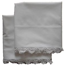 Pillowcases Pair Unused Vintage 20s Tatted Lace Pure Cotton