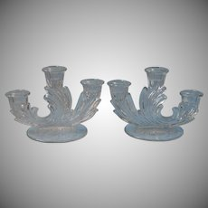 Fostoria Baroque Meadow Rose 3 Lite Candlesticks Candle Holders Vintage Glass
