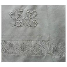 Linen Sheet Antique Lace Monogram L.H.C. Dated 1911