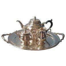 Tea Set And Tray Bennington Oneida Heirloom Silver Plated Teapot Sugar Bowl Creamer