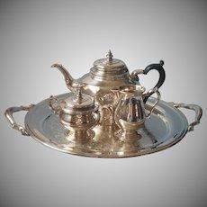 Tea Set And Tray Bennington Oneida Heirloom Silver Plated Reapot Sugar Bowl Creamer
