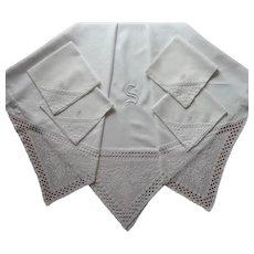 Monogram S Antique Square Tablecloth 4 Napkins Linen Filet Lace