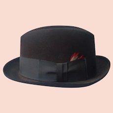 Dobbs Homburg Hat 7 1/4 Vintage Dark Chocolate Brown Fifth Avenue