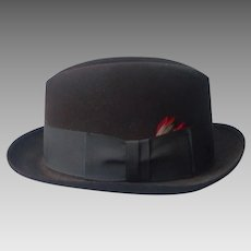 Dobbs Homburg Hat 7 1/4 Vintage Dark Chocolate Brown Fifth Avenue
