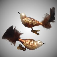 Glass Bird Ornaments Vintage ca 1990 Brown Feathers Pair