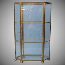 Brass Glass Curio Display Case Cabinet Vintage 10 Inch Hexagon