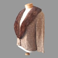 Vintage Ribbon Knit Evening Jacket Fur Collar Detachable Gold Dark Brown