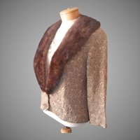 Vintage Ribbon Knit Evening Jacket Fur Collar Detachable Gold Dark Brown