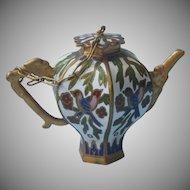 Tiny Enamel Teapot Vintage Brass