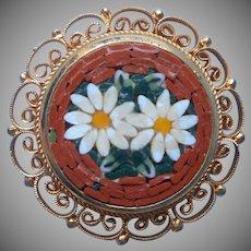 Mosaic Pin Italy Vintage Daisies Deep Golden Yellow