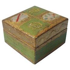 Florentine Stamp Box Vintage Italy Gesso Gilt Wood Mid Century
