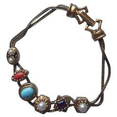 Goldette Slide Bracelet Slider Vintage ca 1960 Signed