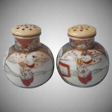 Antique Satsuma Shakers Salt Pepper Hand Painted