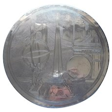 1939 World's Fair Reed Barton Silver Plated Trivet Trylon Perisphere New York