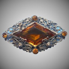 1920s Pin Vintage Amber Colored Glass Brass Filigree