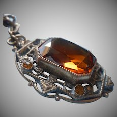 1920s Necklace Amber Colored Glass Pendant Brass Vintage