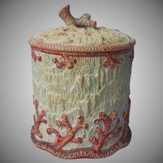 Wilhelm Schiller Unglazed Majolica Tobacco Jar Antique Coral Seaweed Motifs