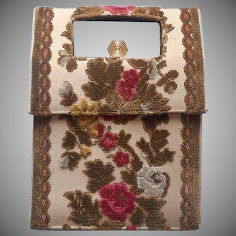 1960s Italian Cut Velvet Leather Purse Vintage Carpet Bag Velour