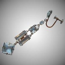 Edwardian Earring Single Antique Dangle Sterling Vermeil Crystal Drop