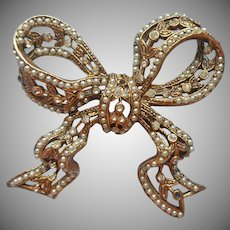 Benedickt NY  Bow Pin Vintage Faux Seed Pearls Tiny Rhinestones