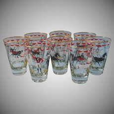 Libbey Circus Greatest Show On Earth Vintage 8 Glasses Bareback Riders
