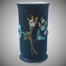 Antique Spill Vase Dramatic Matte Black Applied Flowers China TLC