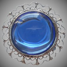 Mexico Signed J. E. Sterling 925 Blue Glass Pin