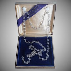 Sterling Rosary No Crucifix Vintage Crystal Beads Blue Velvet Box
