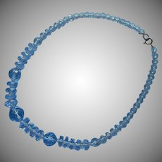 1930s Art Deco Faceted Blue Cut Crystal Beads Necklace Rondelles