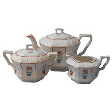 Charming ca 1930 Tea Set Japan Teapot Creamer Sugar White Flower Pots