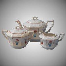 1920s 30s Tea Set Japan Teapot Creamer Sugar White China Flower Pots