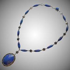 ca 1920 Sterling Silver Blue Art Glass Black Enamel Necklace Antique