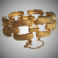 Vintage Monet Chunky Textured Links Bracelet Guard Chain Gold Tone