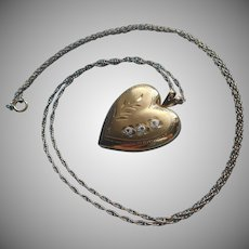 Heart Locket Vintage Gold Filled On Chain Necklace Brushed Bright Cut