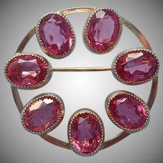 Vintage Pin Circle Pink Stones Vintage Catamore Gold Filled