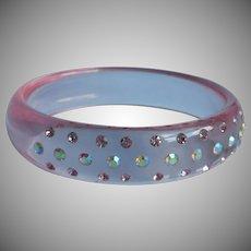 Pink Lucite Vintage Bangle Bracelet Rhinestones