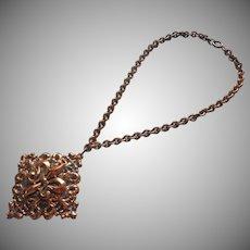 Vintage Copper Color Metal Necklace Big Pendant Fleur de Lis