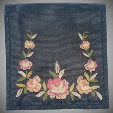 French Silk Wallet Beauvais Embroidery Roses Vintage For Purse Mirror