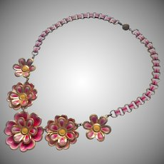 1930s Necklace Painted Pink Metal Flowers Book Chain Links Vintage